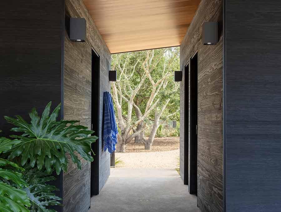Hallway featuring modern architecture